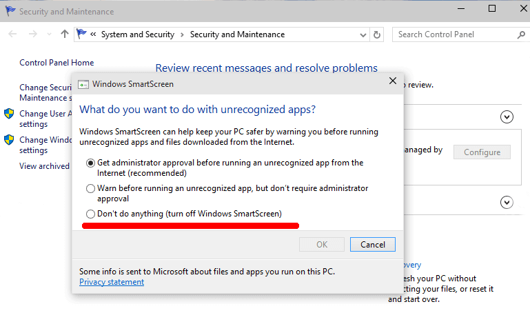 turn off smartscreen on windows 10