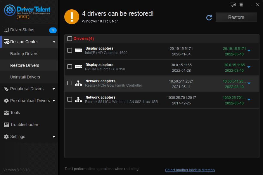 restore drivers from backup