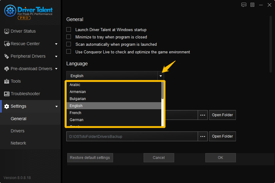 switch language of driver talent