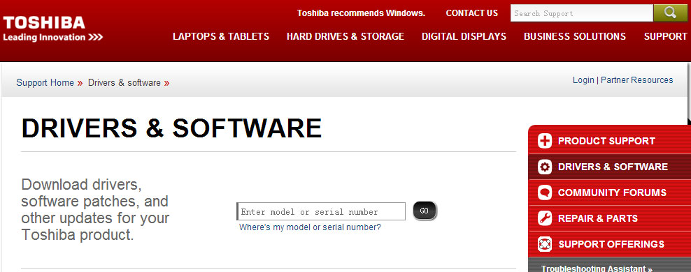 Toshiba Driver Downloads