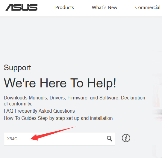 search-for-asus-x54c-drivers-on-the-support-page.png