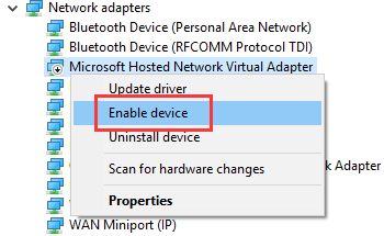 how to activate microsoft virtual wifi miniport adapter