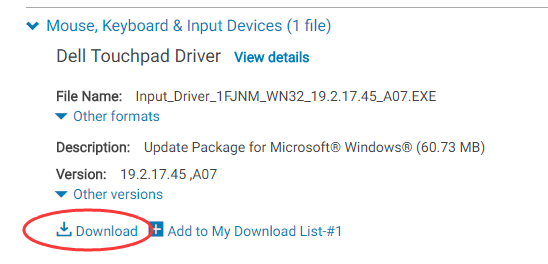 synaptics pointing device driver windows 8.1 dell