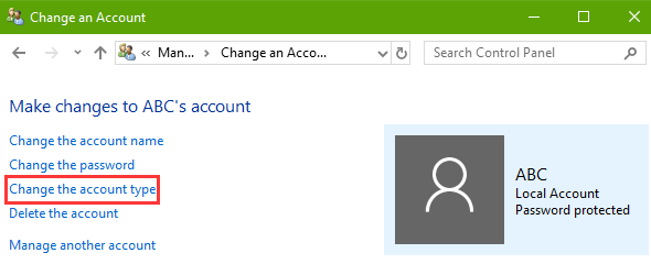 change-the-account-type-fix-windows-10-start-menu-not-working