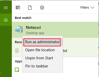 notepad-run-as-administrator-fix-internet-connected-browser-not-working