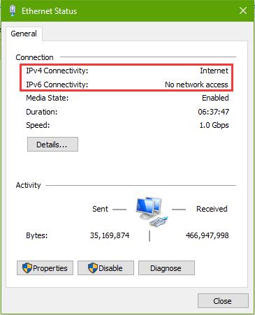 Fix IPv4/IPv6 No Internet Access on Windows 10 Fall Creators