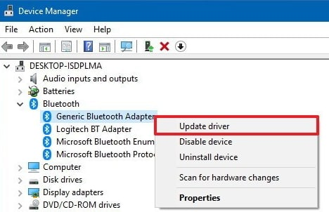 generic bluetooth adapter code 10