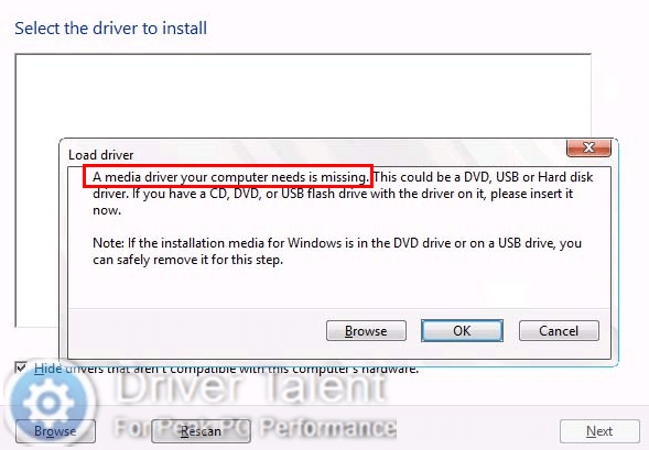 installing windows from usb missing drivers