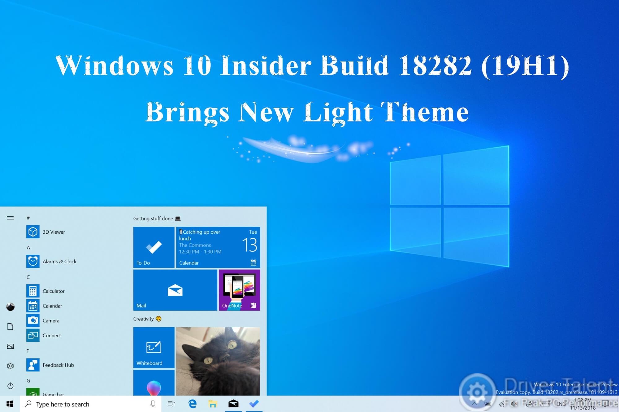 Windows 10 Insider Build 18282 (19H1) Brings New Light Theme