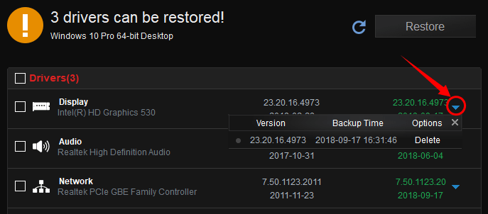 restore driver versions